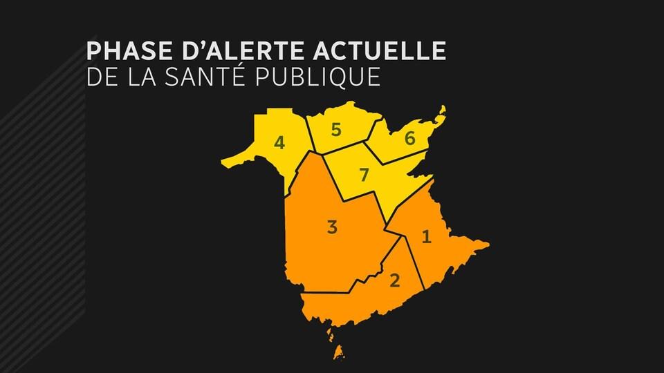 Les trois régions du sud du Nouveau-Brunswick sont en phase orange.