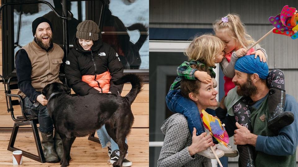 Des familles posent sur leur perron durant le confinement qu'impose la pandémie de la COVID-19.