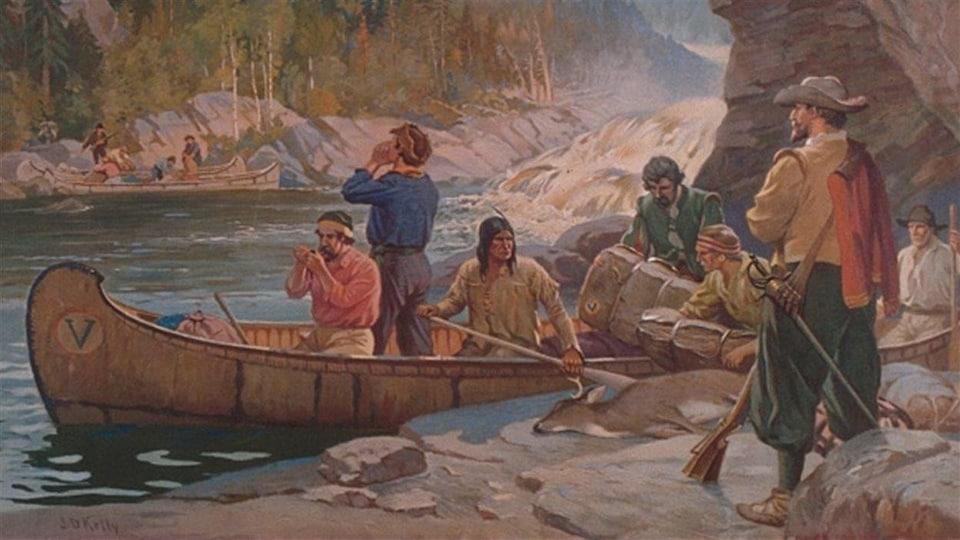 Tableau peint montrant des hommes sur les bords d'une rivière.