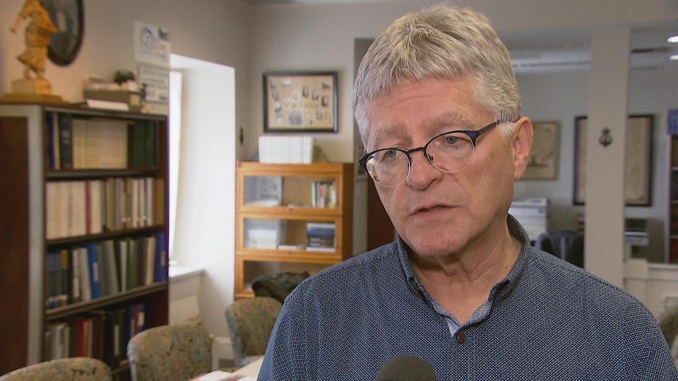 Pierre Gilbert, maire de Saint-Joseph-de-Beauce en entrevue avec Radio-Canada.
