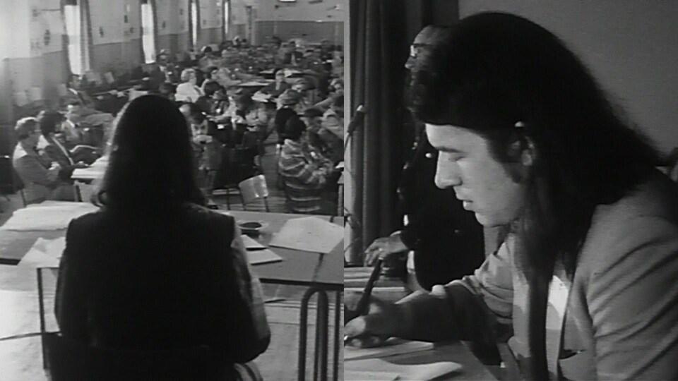 Pierre Jobin présidant une assemblée dans sa jeunesse.