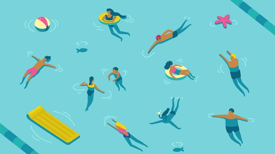 La baignade représente un faible risque de transmission puisque le virus ne survit pas dans l'eau chlorée.