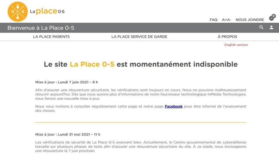 Page du site Internet de La Place 0-5.