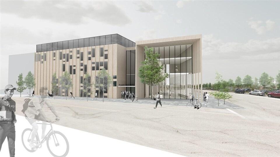 Dessin de l'édifice de la future Place des arts de Sudbury
