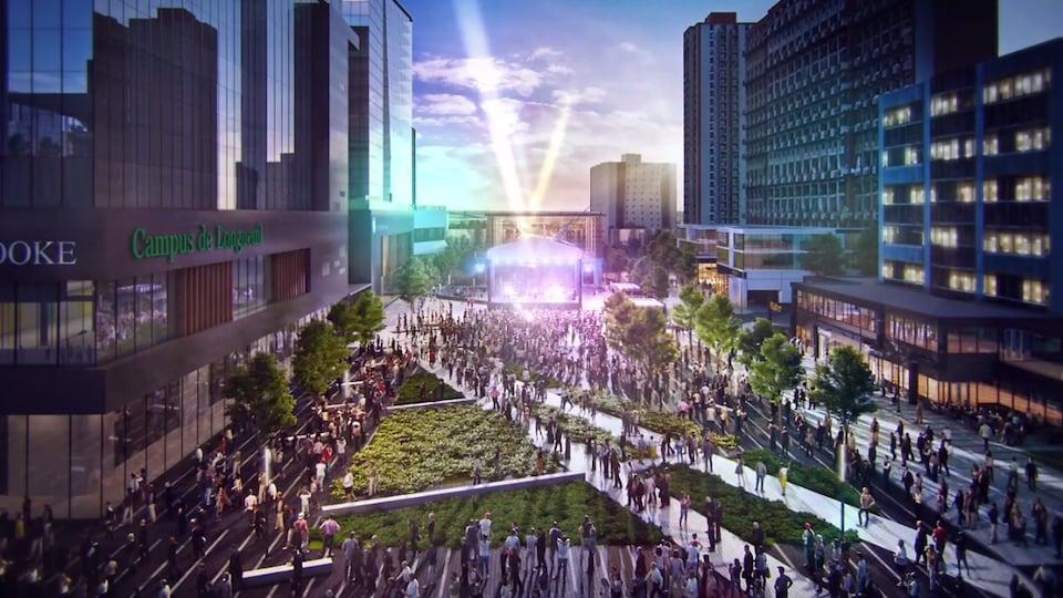 Place publique dans le projet de nouveau centre-ville à Longueuil