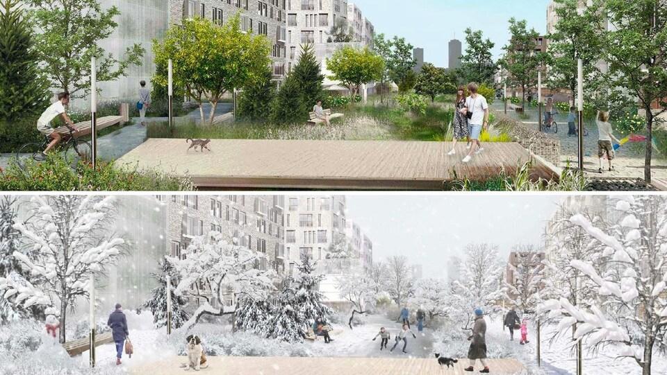 Les maquettes du plan d'aménagement en été et en hiver