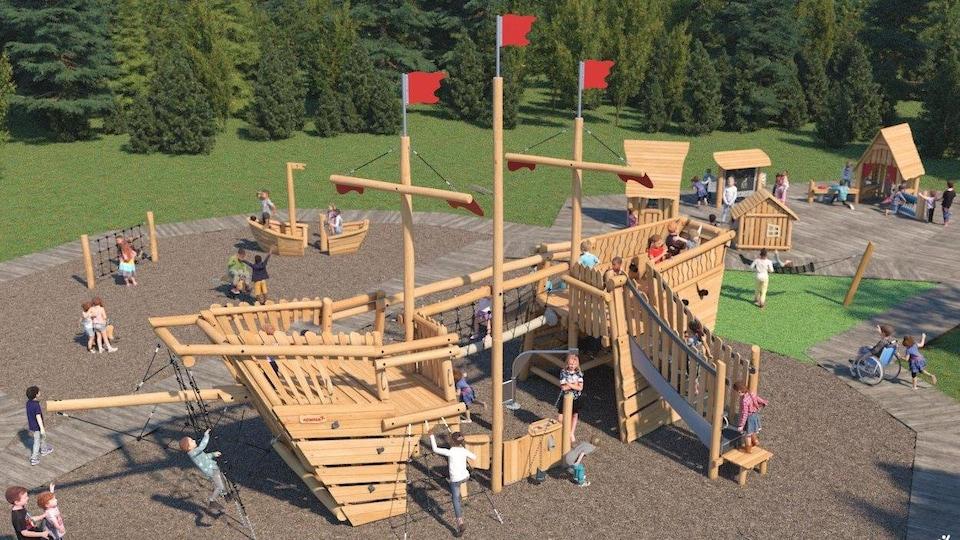 Une visualisation du projet de parc, avec un bateau en bois et des maisonnettes.