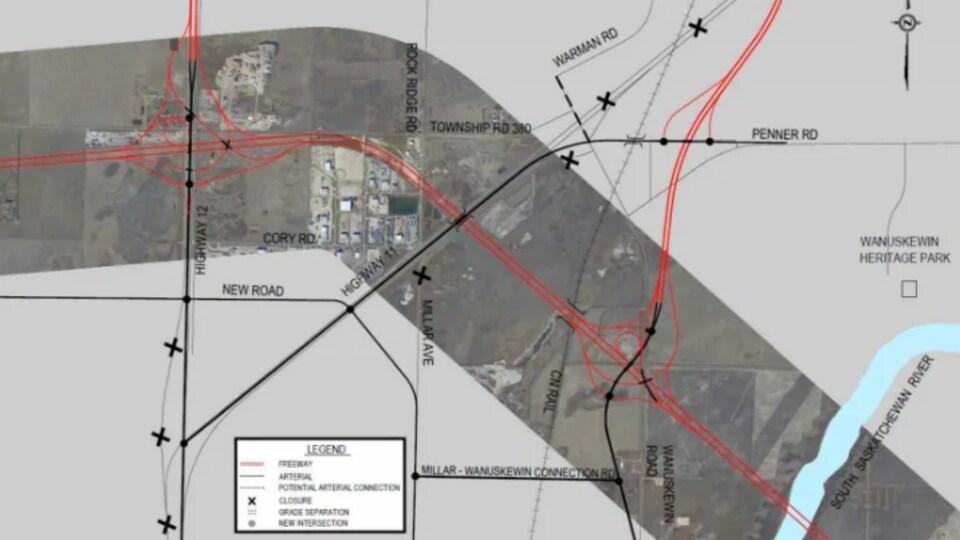 Plan préliminaire d'un projet de construction d'une autoroute.