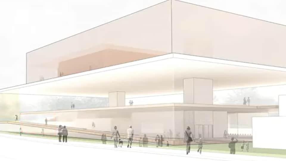 Un croquis de la future Bibliothèque publique du Grand Sudbury.