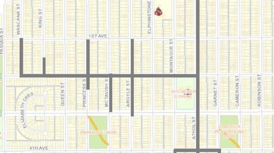 Une carte montrant les lieux des travaux sur les systèmes d'évacuation d'eau de la ville.