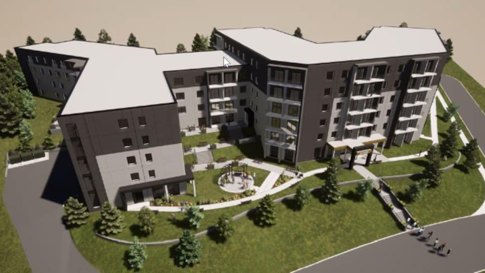 Un plan montre le bâtiment en trois dimensions.