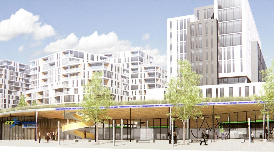 Des buildings blancs en arrière-plan et une entrée de pôle d'échange à l'avant. On voit les logos du RTC et d'iA Groupe financier