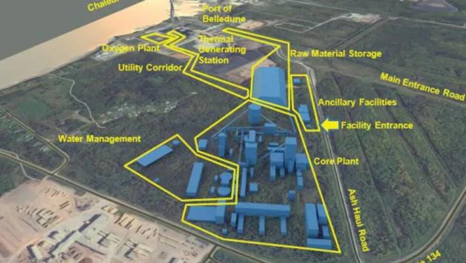 Schéma des bâtiments de l'usine