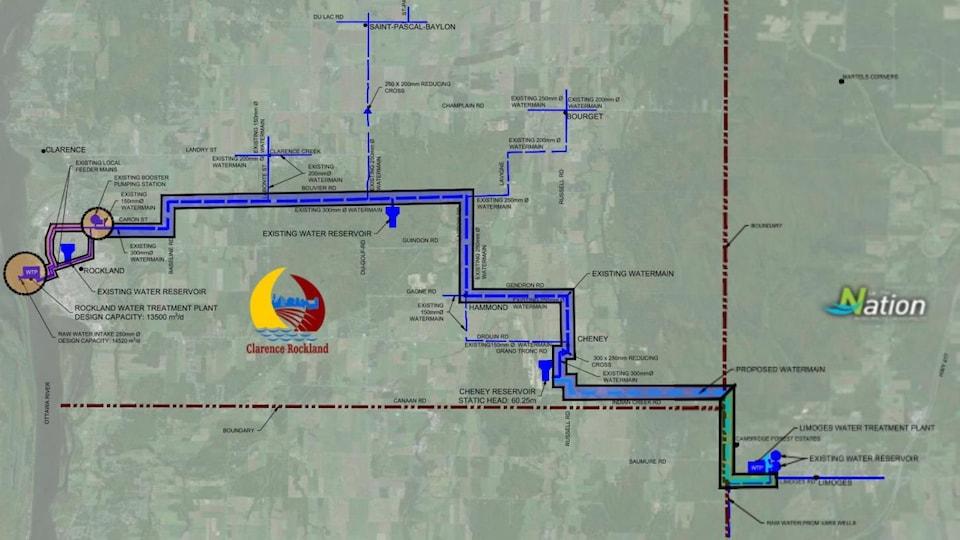 La carte montre le réseau d'aqueduc de Clarence-Rockland, ainsi qu'une liaison future vers la municipalité de La Nation.