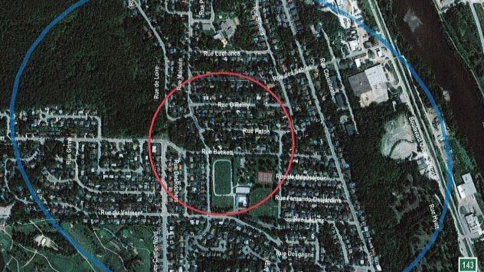 Une carte vue à vol d'oiseau du quartier Vieux-Nord de la Ville de Sherbrooke.