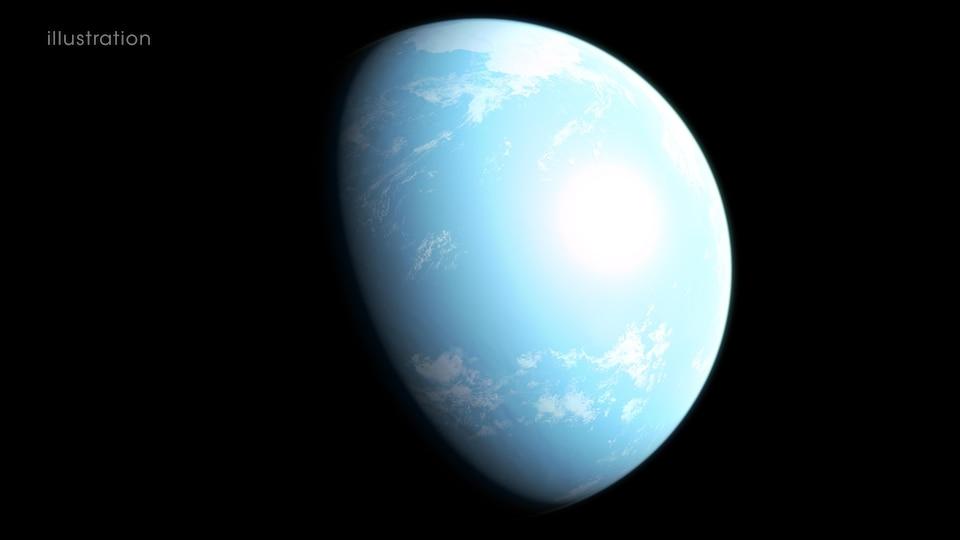 Une planète bleue avec des taches blanches.