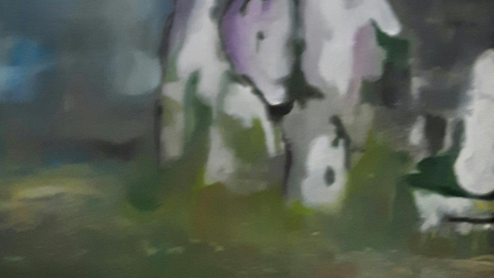 Peinture abstraite avec des tons de bleu, mauve et vert sur fond blanc.