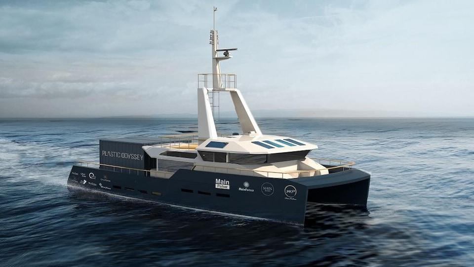 Un bateau de type catamaran sera utilisé par l'équipe Plastic Odyssey d'ici 2020 pour tenter de nettoyer une partie de la pollution par le plastique des océans.