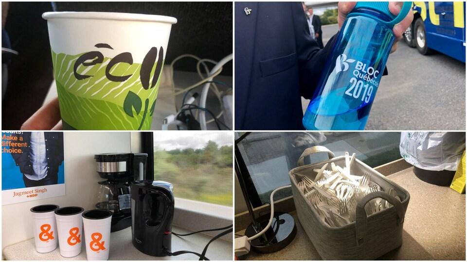 Quatre photos montrent un verre en carton sur lequel on peut lire « éco », une gourde réutilisable du Bloc québécois, des tasses réutilisables du NPD et un panier contenant des fourchettes en plastique.