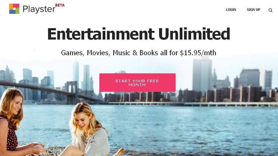 La page d'accueil du site web Playster, qui promet offrir des jeux, des films, de la musique et de livres illimités.