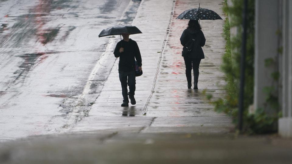 Un homme une femme marchent en direction opposée, chacun sous un parapluie.