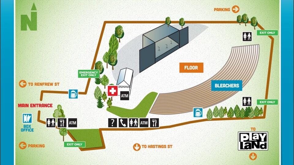 Plan dessiné du site de l'amphithéâtre.