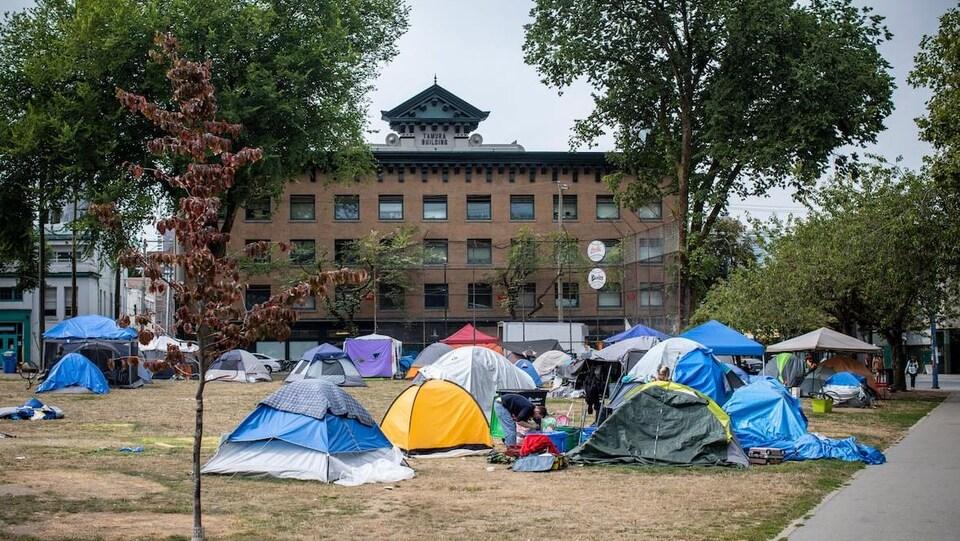 Des tentes dans un parc, avec un édifice en arrière-plan.