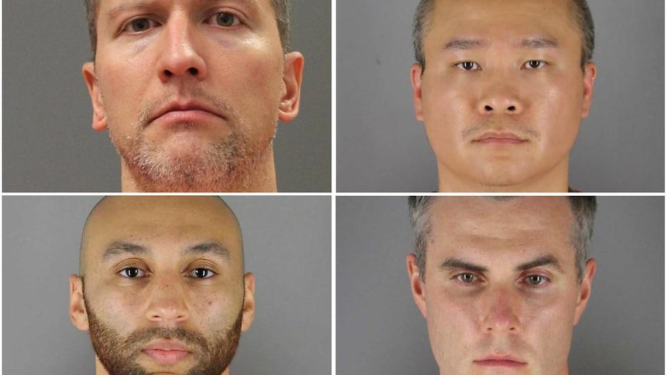 Les visages des quatre policiers inculpés.