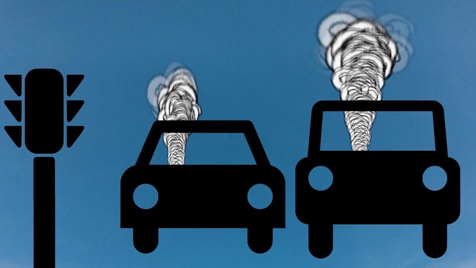 Dessin montrant deux voitures desquelles s'échappe un nuage de fumée.
