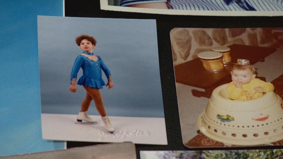 Une photo d'une petite fille en patinage artistique et une autre photo d'un petit bébé dans sa marchette.