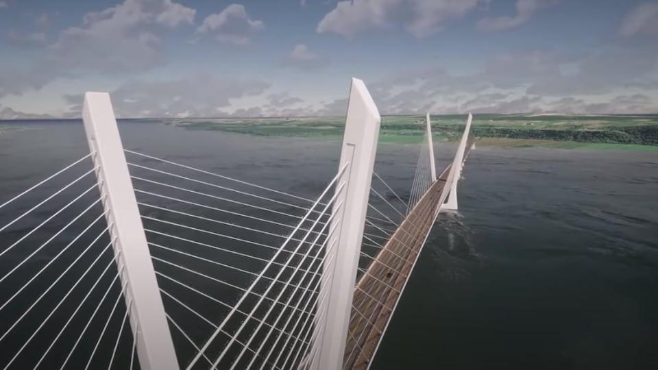 Esquisse du pont à haubans qui sera construit à l'ouest de l'actuel pont de l'Île-d'Orléans.