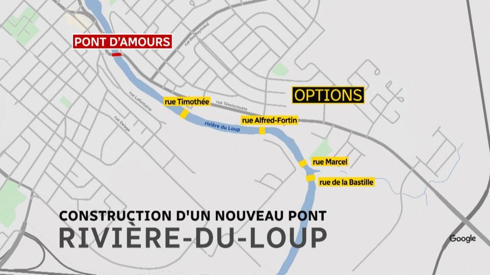 Quatre emplacements seront étudiés pour le nouveau pont.