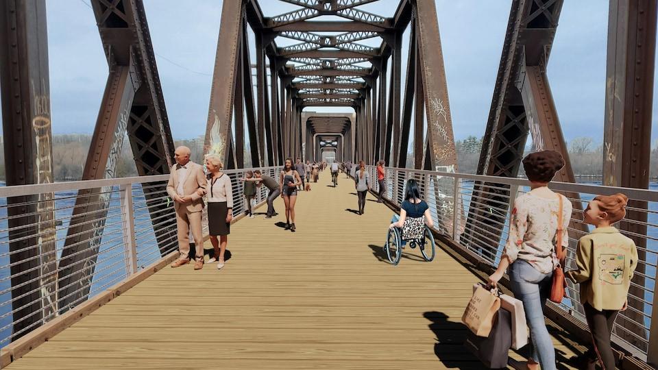 Une image dans laquelle des piétons et des cyclistes se déplacent sur un pont rénové.