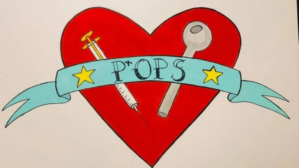 Un cœur avec une seringue, une pipe, et une banderole où l'on peut lire POPS.
