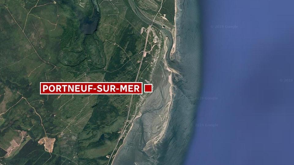 Une vue satellite de Portneuf-sur-mer