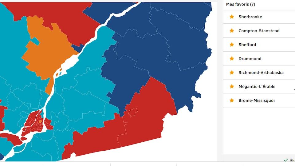 carte représentant les circonscriptions