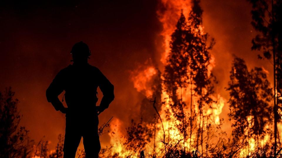 Un pompier debout, de dos, les mains sur les hanches, faisant face aux violentes flammes.