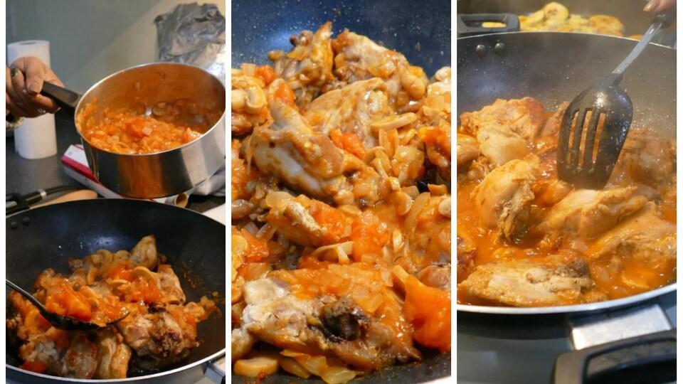 À l'aide d'une grosse cuillère, on ajoute la sauce aux tomates au poulet frit.