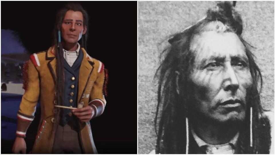 Montage montrant un personnage de jeu vidéo comparé à une réelle photo d'un chef autochtone.