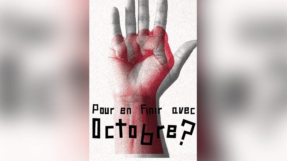 Montage de l'affiche, où l'on voit un poing fermé, juxtaposé sur une main ouverte.