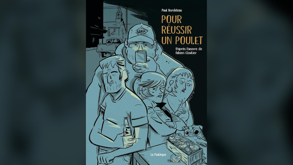 Couverture illustrée dans laquelle on voit les personnages, en bleu, ainsi que le titre de la bande dessinée.