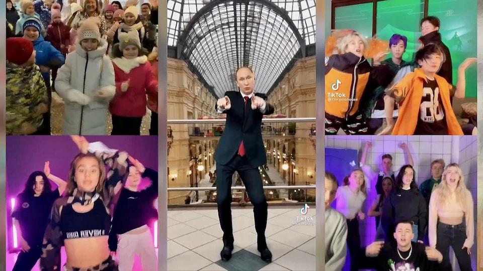 Vladimir Poutine et des enfants dansent.