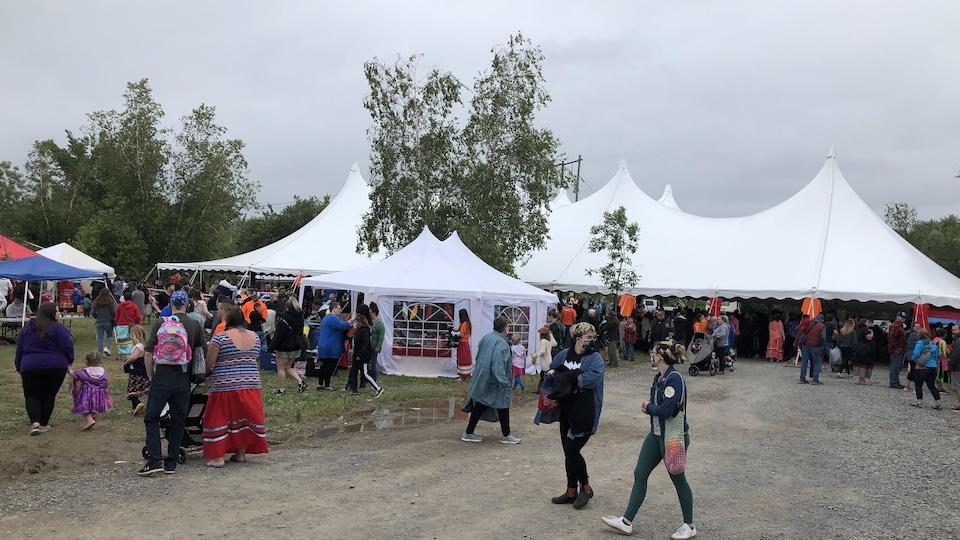 Le pow-wow organisé par la communauté autochtone Welamukotuk, 3 juillet 2021.
