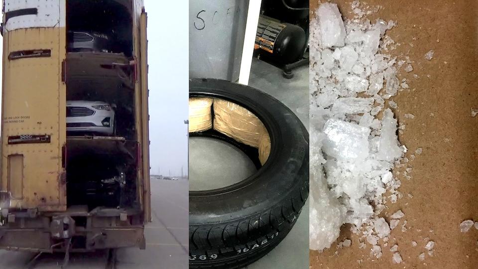 Collage photo : un wagon avec des véhicules, un pneu rempli de drogue et de la drogue.