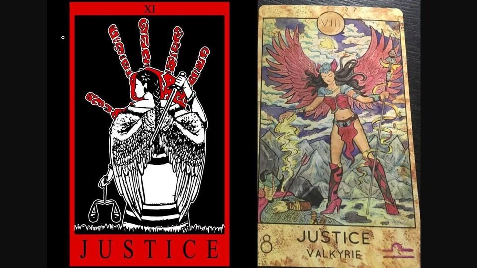 La carte de tarot de Prairie Harm Reduction représentant la justice (gauche) et une carte de tarot traditionnelle représentant la justice (droite).