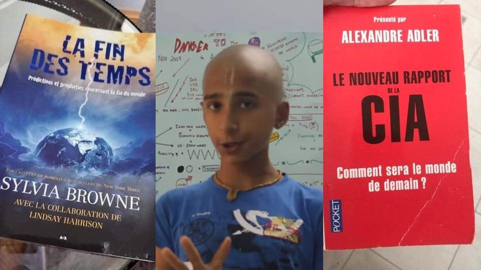 Des photos de la couverture du livre « La fin des temps », le voyant indien Abighya Anand et la couverture du livre « Le nouveau rapport de la CIA ».