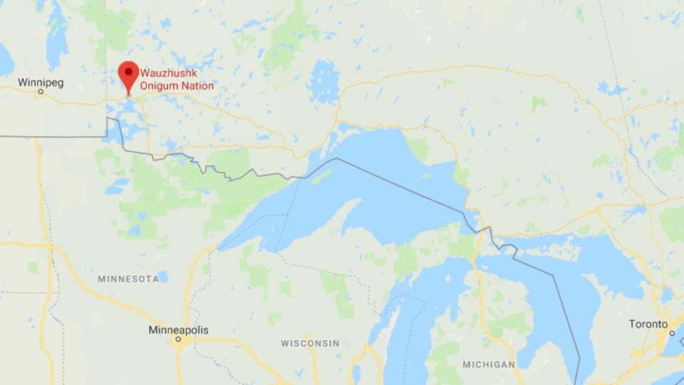 Une carte représentant la Première Nation Wauzhushk Onigum.
