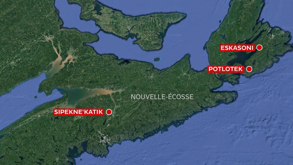 Les Premières Nations de Sipekne'katik, de Poltotek et d'Eskasoni sur une carte de la Nouvelle-Écosse.