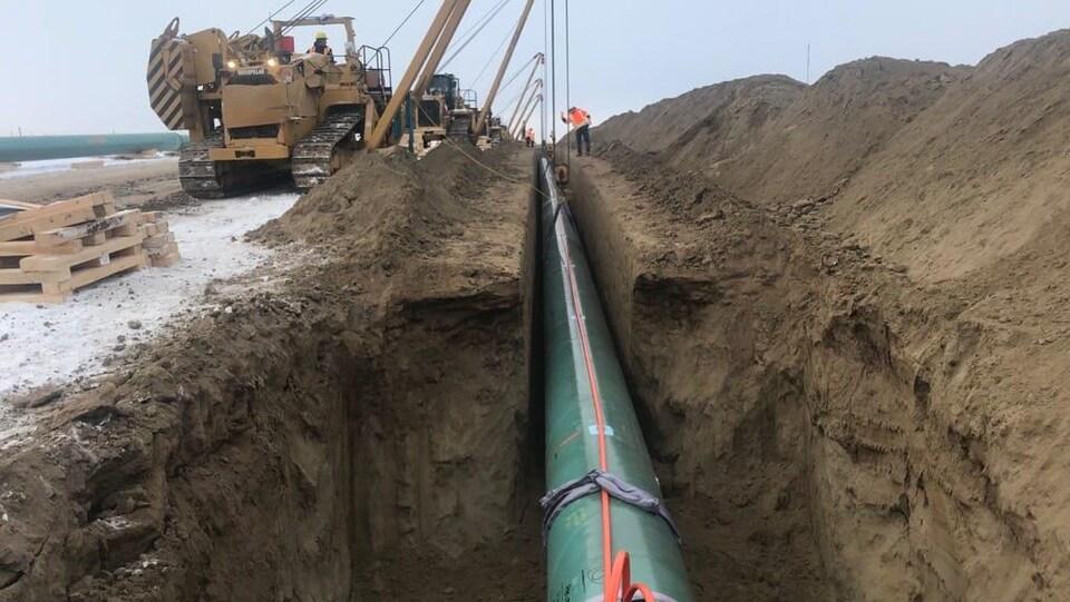Le chantier de construction de l'expansion du pipeline Trans Mountain.