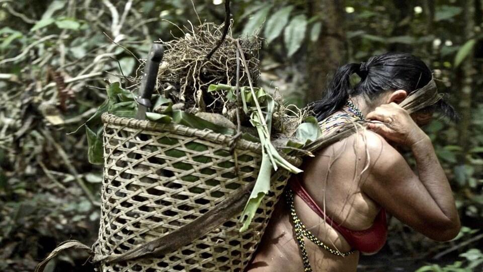 Une femme amazonienne transporte un panier sur son dos.